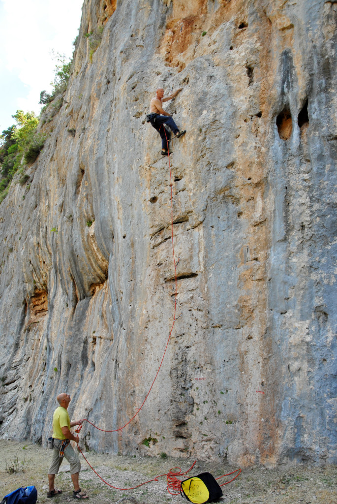 "The author, Carl Dawson, on ""Apse Svise"" 6b+, sector Lagada. Photo: Claude Remy"