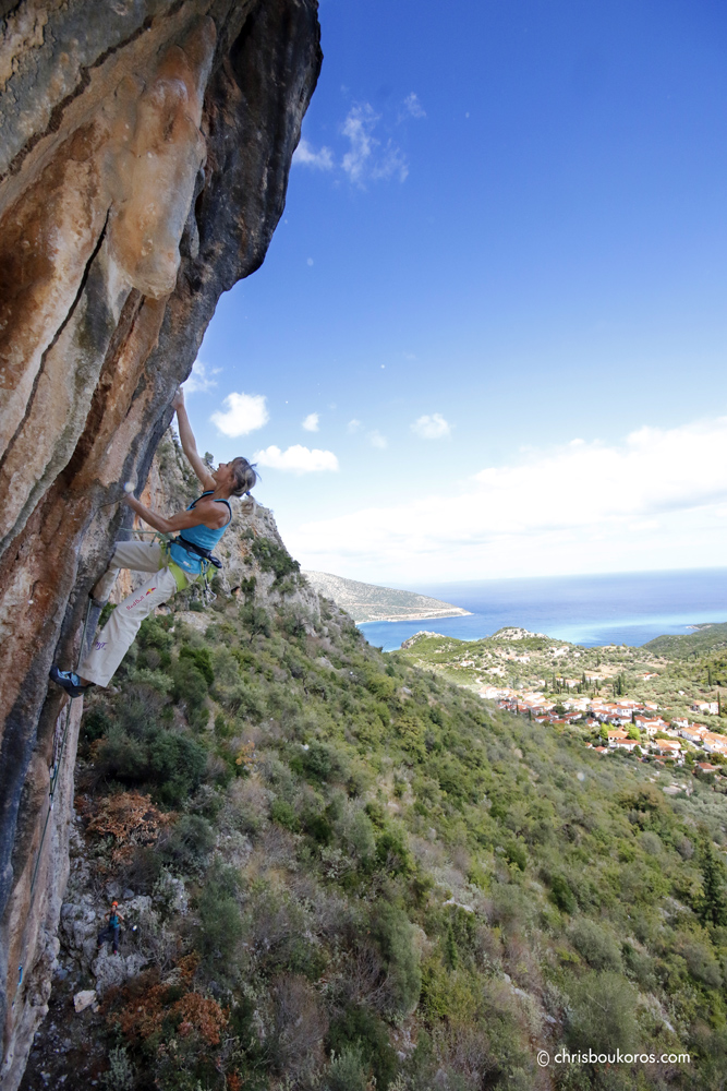 "Angy Eiter on the mega-classic ""Jerome the Gangster"" 7c+, sector Watermill, Kyparissi. Photo: Chris Boukoros"