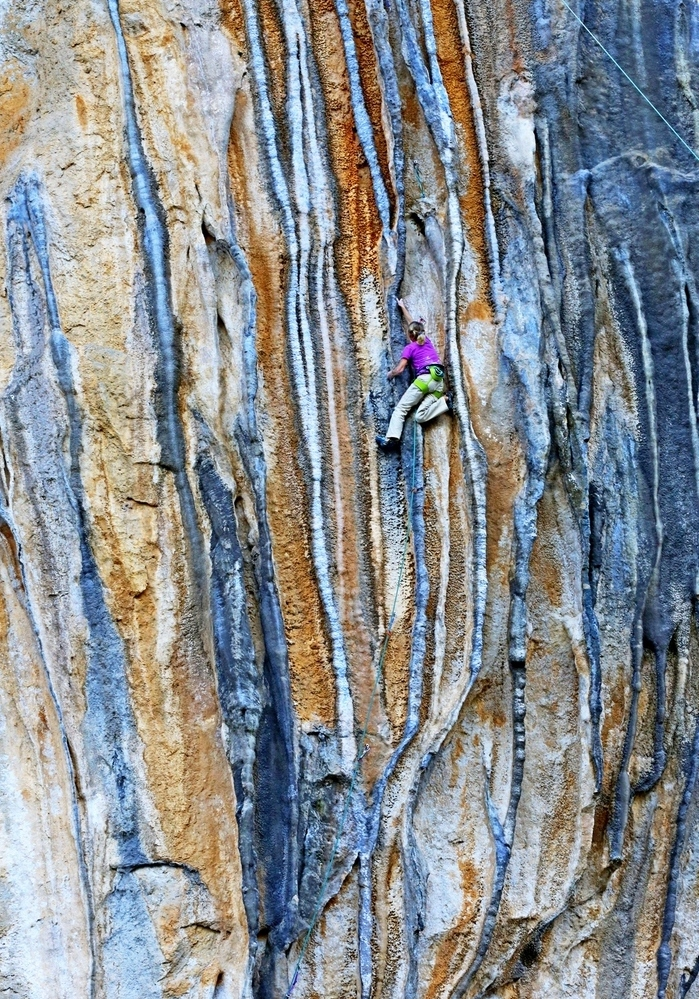 "Angy Eiter on the jaw-dropping tufa snakes of ""Leodokardos"" 8a in sector Babala, Kyparissi. Photo: Aris Theodoropoulos/Climb Greece"